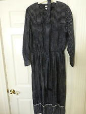 NWT TALBOTS WOMENS DRESS NAVY W/ WHITE SQUARES SIZE 20 FIT & FLAIR LS $138