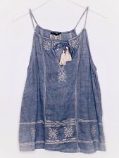 THML Anthropologie Top Small Embroidered Tank Tassels Camisole Blue