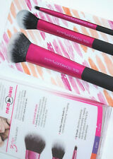 Real Techniques Cheek & and Lip Set 3 makeup brushes duo fiber new in box damage