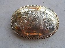 vintage 1990 Crumrine Barrel Rider bronze belt buckle trophy cowboy rodeo