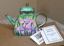 Kelvin Chen Siberian Iris 2001 Miniature Enamel Copper Trinket Teapot NWT & COA