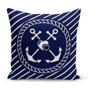 Nautical Pillow Case Navy Marine Cushion Cover Red White Blue Summer Decoration