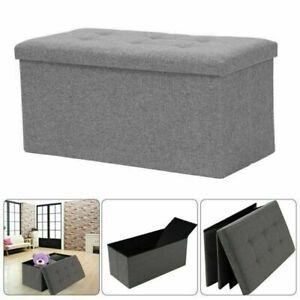Grey Folding Storage Ottoman Pouffe Seat Foot Stool Storage Boxes Large New UK