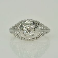 Antique Vintage 18k White Gold Filigree 1/4Ct Diamond Right Hand Estate Ring