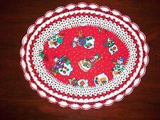 New Handmade Oval Crochet Doily--Snowman/Christmas