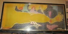 "SILK ABSTRACT PAINTING ""ARTIST SIGNED and FRAMED"""