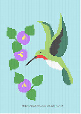 Crochet Patterns - HUMMINGBIRD Color Graph Chart Afghan Pattern