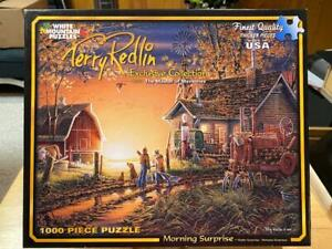 """White Mountain """"Morning Surprise"""" 1000 Piece Jigsaw Puzzle Complete 2014 Redlin"""