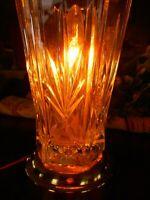 "Vintage Table Boudoir Lamp Clear Glass Cut Flea Market Country Bedside Light 8"""