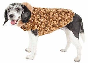 Pet Life  Luxe 'Furpaw' Shaggy Elegant Designer Dog Coat Jacket, Coffee Brown...