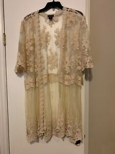 Women's MULTIPLES Lace Kimono Duster Embroidered Floral NWT Plus Sz 2x