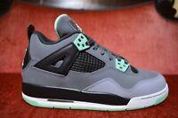 Nike Air Jordan IV 4 Retro Green Glow Black White Cement Grey 408452-033 Size 6Y