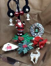 Vintage Christmas Jewelry Lot, Wear/Parts Ugly Christmas Sweater Pins, Earrings