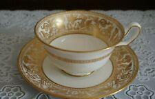 VINTAGE Wedgwood Gold Florentine Tea Cup and Saucer W4219 Old Mark, England