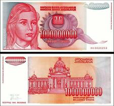 YUGOSLAVIA 1000000000 1,000,000,000 1 BILLION D 1993 UNC 2 PCS CONS. PAIR P.126