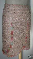 EMANUEL UNGARO $880 Pink Tweed Sequin Skirt NEW 42
