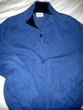 LL BEAN SOFT COTTON 2 TONE BLUE LEATHER PULL 1/4 ZIP HENLEY SWEATER-NCE-L-XL