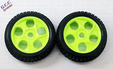 17mm Hex 43mm Wide 112mm Diameter Green Wheels With Foam & Road Tyres 1/8 Car S1
