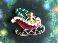 Collectible Christmas Pin Brooch Hand Painted 18kt Gold Enamel Sleigh Pkgd Nice
