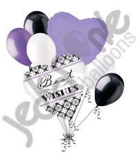 7 pc Damask Best Wishes Balloon Bouquet Party Decoration Bridal Wedding Lavender