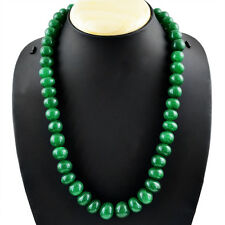 590.05 CTS NATURAL ROUND SHAPE RICH GREEN EMERALD BEADS NECKLACE - ON SALE