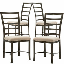Set of 4 Dinning Chair Fabric Upholstered Padded Seat Metal Frame Home Office