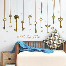 Vintage Love Keys Room Home Decor Removable Wall Stickers Decals Decorations