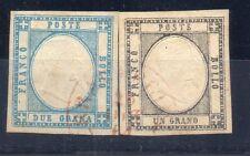 ANTICHI STATI 1861 NAPOLI E PROVINCIA 1+2 GRANA ANNULLO ROSSO RIF 6347