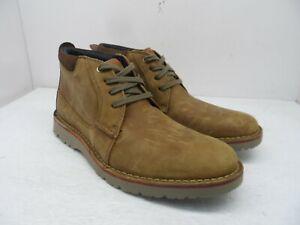 Clarks Men's Mid-Cut Vargo Casual Chukka Boots Dark Tan Leather Size 9.5M