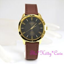 Swiss OMAX Gold Pltd Waterproof Seiko Movement Brown Leather Unisex Watch SC7767