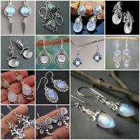 Vintage 925 Silver Moonstone Earrings Dangle Drop Ear Hook Women Jewelry Gift