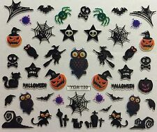 Nail Art 3D Decal Stickers Halloween Owl Witch GraveYard Bat Spider Skull YGA124