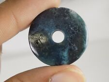 Green Moss Agate Donut Big Hole Coin Pendant Beads 12mm-25mm 2 Piece #DB-198
