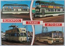 Postcard with 4 photos of Blackpool trams