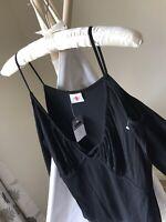 NEXT Black Slit Sleeves Cold Shoulder Blouse Top Size 12
