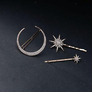 New Popualr Crystal Moon Star Rhinestone Hairpin Hair Clip Barrette