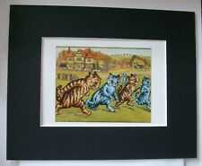 Cat Print Louis Wain Start Of The Race Runners Colored Bookplate 1983 8x10 w/Mat