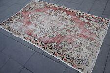 "Vintage Handmade Turkish Oushak Wool Red Distressed Area Rug Carpet 82""x53"""