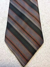 Vintage Johnny Carson Mens Tie 3.25 X 57 Brown, Green, Orange Striped