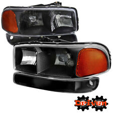 99-06 GMC Sierra Truck Black Housing Headlights +Turn Signal Crew Cab Single All