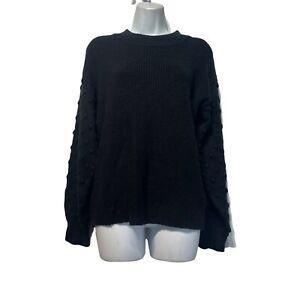 CeCe Pom Pom Textured Mock Neck Sweater Ribbed Knit Black Women's Size M