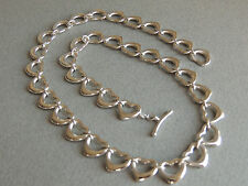 Tiffany & Co Sterling Silver Elsa Peretti Open Heart Link Toggle Clasp Necklace
