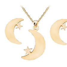 Gold Moon with Star Stainless Steel Earrings Necklace Pendant Jewellery Set S814