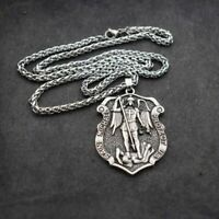 Saint St Michael Medal The Archangel Cross Shield Pendant Necklace fast shipping