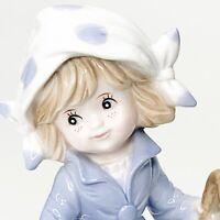 Vintage Arnart KPM Porcelain Figurine Young Girl Flower Basket & Umbrella Japan