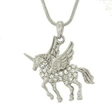 "UNICORN Made With Swarovski Crystal Pegasus Horse Pendant Necklace 18"" Chain"