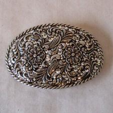 Vtg Nooona Belt Buckle Flora Pattern with Glass Rhinestones  - Metal -