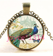 Vintage Peacock Cabochon bronze Glass Chain Pendant Necklace TS-4467