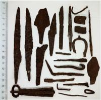 Set of Iron Medieval tools: Fishing hooks, Buckles, etc. Siberia 800-1000AD