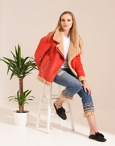 Charcoal Fashion Women's Red Oversize Shearling Aviator Biker Jacket